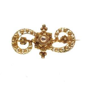 antiek gouden s broche filigrain