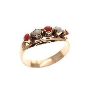 gouden ring bloedkoraal parel