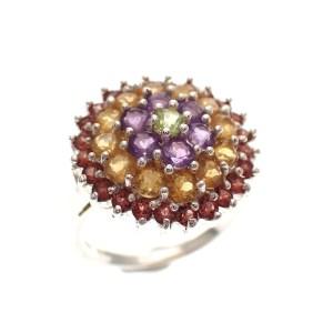 kleurrijke ring zilver