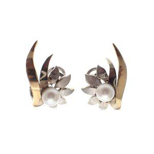 gouden oorclips met parel