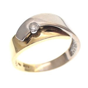 bicolour ring met briljant