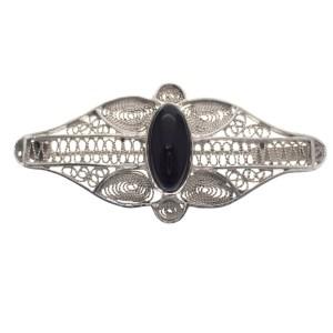 zilveren antieke broche onyx