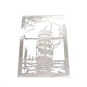 zilveren broche schip