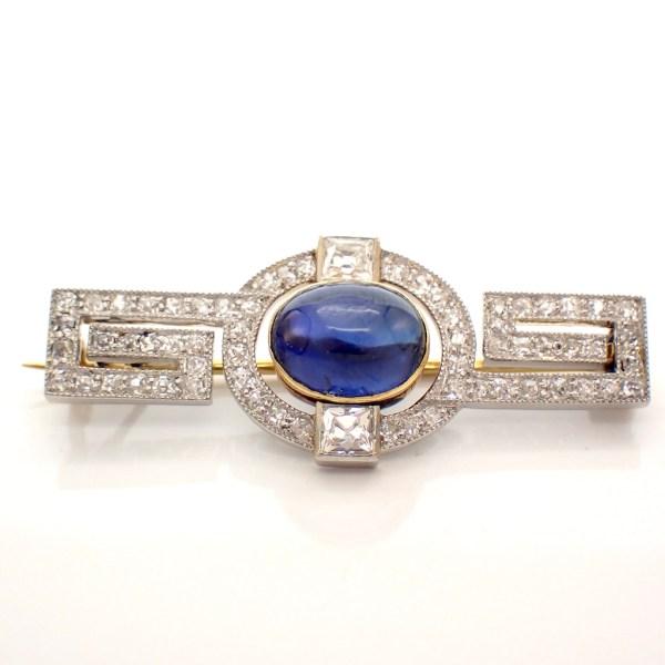 gouden broche 1920 diamant saffier