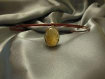 Collieranhänger Silber - Gold plattiert Citrin –Cabochon: Innengravur Frauenportrait