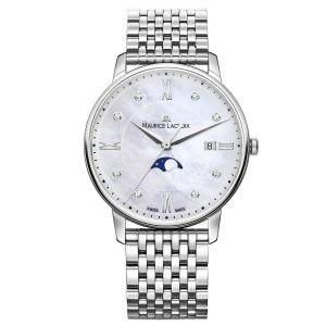 Diese Uhr strahlt mit den Sternen um die Wette. Die ELIROS Moonphase 35mm besitzt ein zart schimmerndes Zifferblatt aus Perlmutt, das mit acht funkelnden Diamanten besetzt ist. Gehäuse und Armband aus Edelstahl verleihen der Uhr ihren anmutigen, glamourösen Look, der durch die Funktionalität der Uhr ergänzt wird. Datumsanzeige und eine Mondphasen-Komplikation machen dieses Modell optisch sowie funktional zum Highlight, das keine Wünsche offen lässt. Dank Schnellbandwechselsystem «Easy Change» kann auf die verschiedenen Vorlieben und Stile der Trägerin optimal eingegangen werden. Gehäuse : Edelstahl & Armband : Edelstahl Wasserdicht bis 5 ATM 35 mm