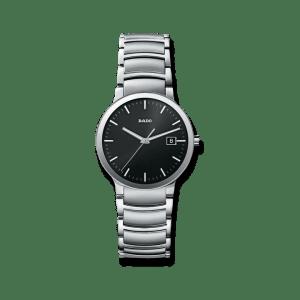 Rado Centrix L Quarz Armbanduhr mit schwarzem Zifferblatt und Edelstahlarmband