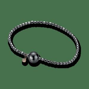 Gellner Flex Armband aus 925 Sterlingsilber und 750 Roségold mit Tahiti-Perle und 1 Brillant