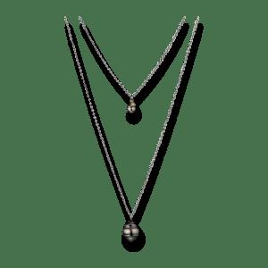 Gellner Basic PS Halskette aus 925 Sterlingsilber und 750 Roségold mit 2 Tahiti-Perlen und 1 Brillant (0,046 Karat).