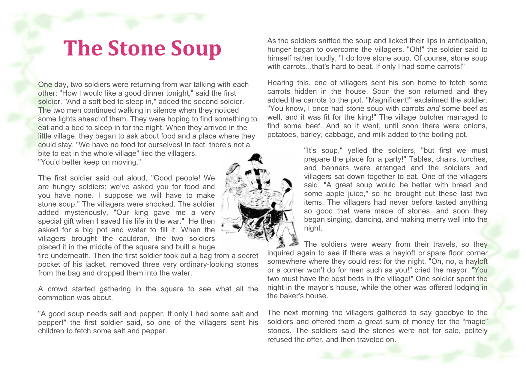 Best Stone Soup Story Printable