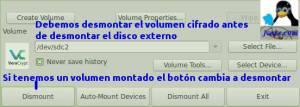 Desmontar volumen Veracrypt