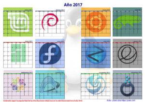 Calendario linuxero 2017 para pared