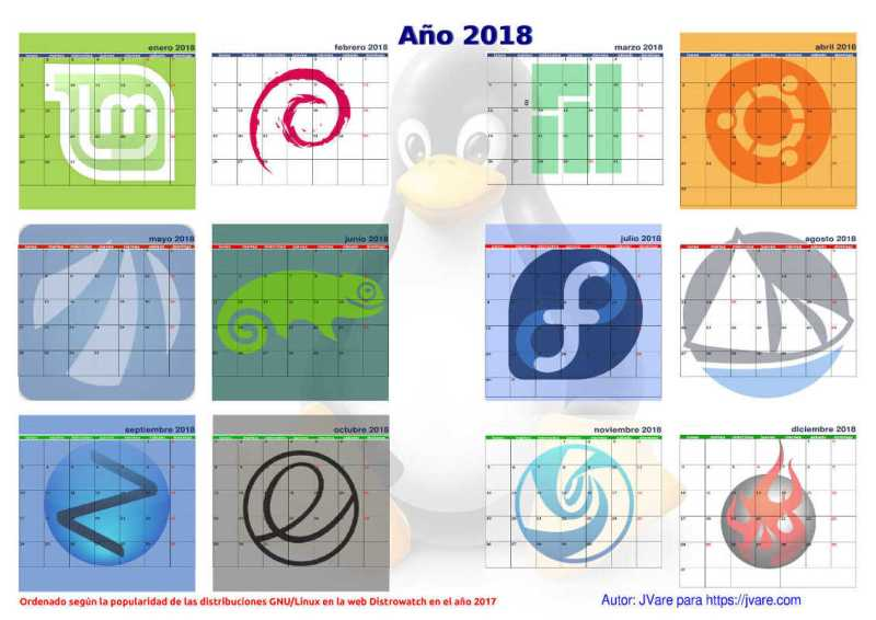Calendario linuxero de 2018 para pared