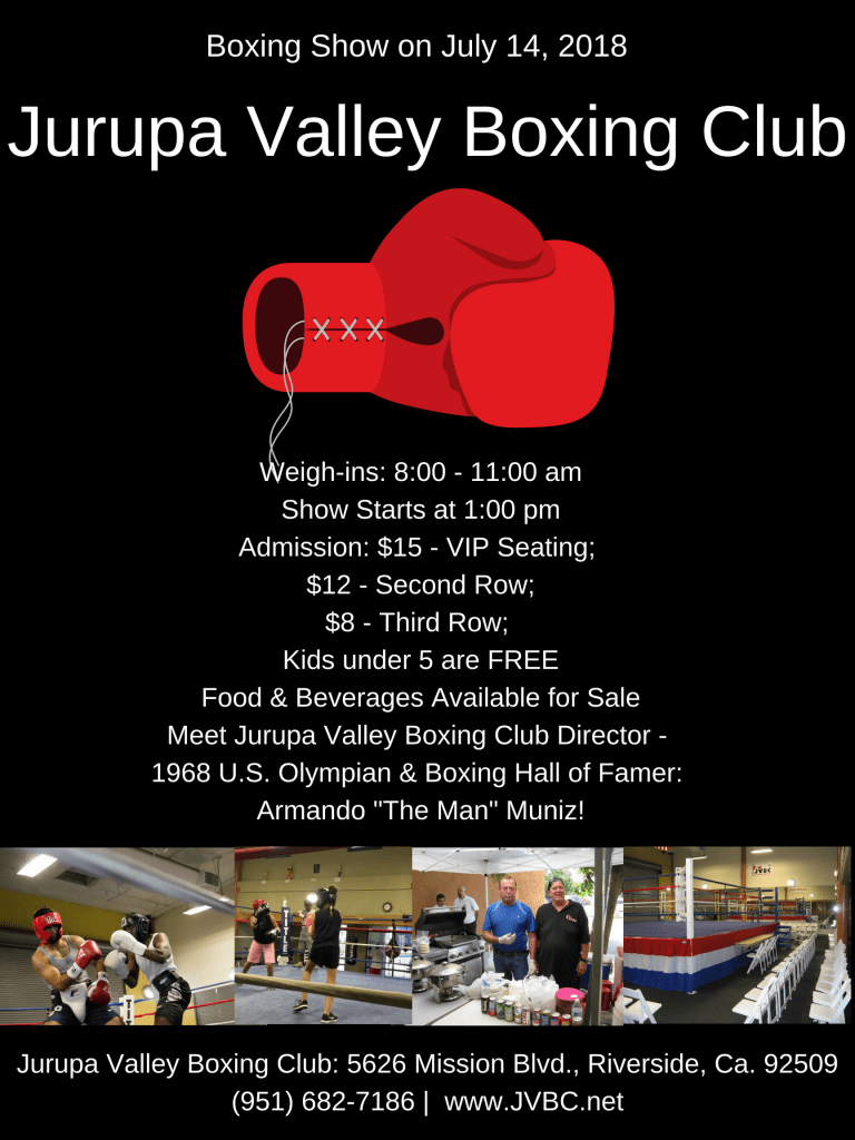 Boxing show in Riverside Ca on July 14, 2018