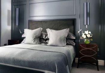 dormitorio color gris satinado