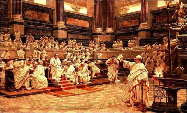 Cicero indicts Catilina - Painting by Hans Werner Schmidt