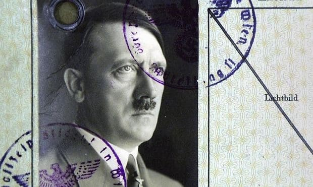 """Adolf Hitler's Residence Chit of August 21, 1909, registered as """"Writer"""" at Sechshauserstrasse 56, Second Floor, Room 21, c/o Mrs. Antonie Oberlechner, District XIV"""