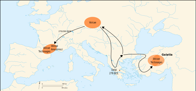 The course of Volcae tribal migration throughout the 3rd centuries BC, noting the destination of some Tectosages and the Arecomisci to the area around Tolosa