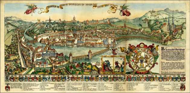 Medieval view of Lucerne by Martin Martini 1597