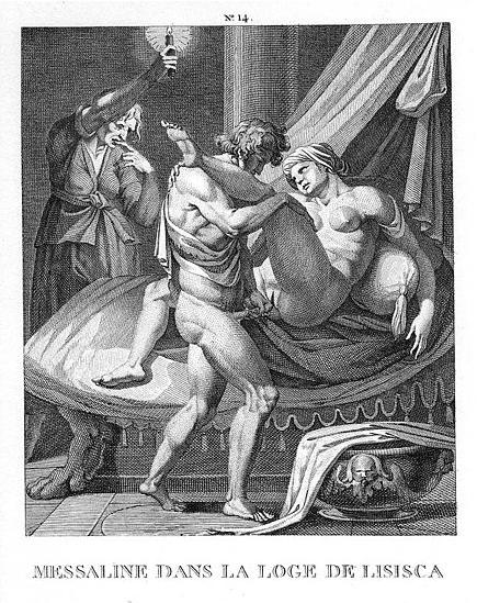 Messalina working in the brothel of Lisisca, etching by Agostino Carracci, late 16th century