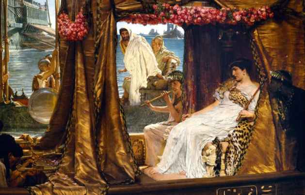 Antony and Cleopatra meet on a river barge, by Sir Lawrence Alma Tadema