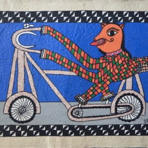 A tiger riding a bicycle