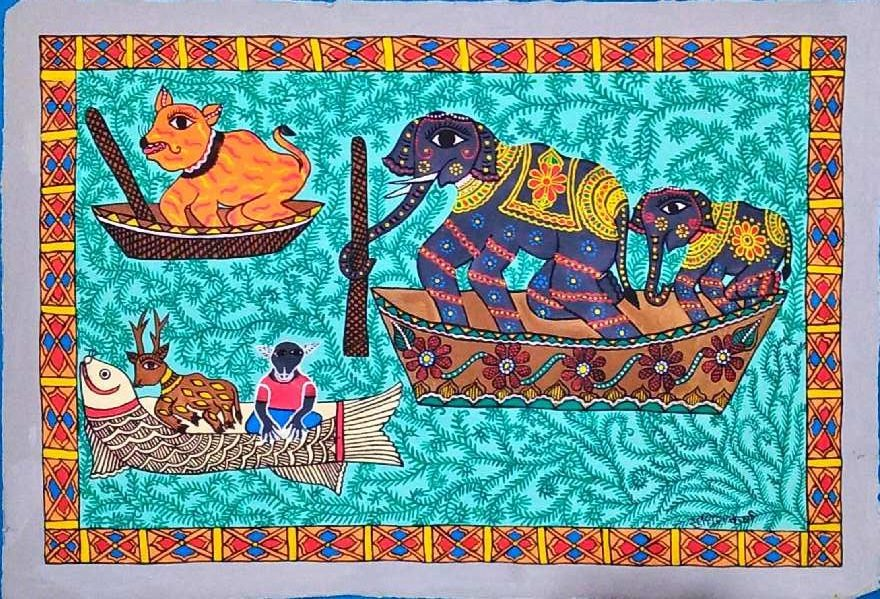 Animals travelling in boats by Sudhira Karna
