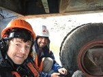 Good friend, Billy, and I taking shelter from down pouring rain while filming Gold Rush