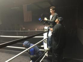 Filmming Anderson Silva commercial at Silva's gym