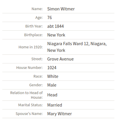Witmer 1920 Census
