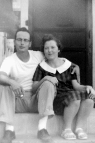 My Mom & Dad on her parents' front porch.