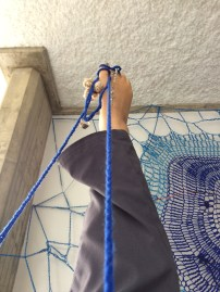 Crocheting lying down
