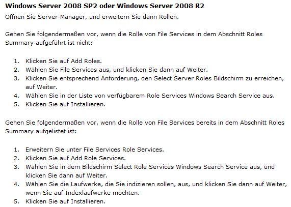 Windows Server 2008 R2: Windows Search aktivieren (2/3)