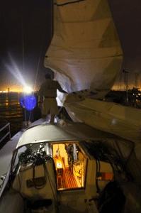 Docked at the Cooper River Marina at night.