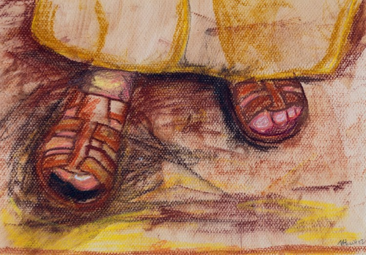 shake off the dust. Mark 6:1-13. Mark A Hewitt, pastel & pencil. 7 July 2012