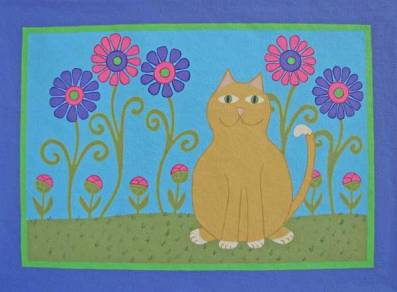 Cat with Funky Daisies Pet Food Mat