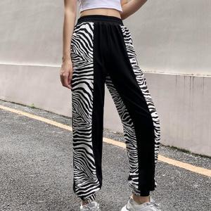 Goth Dark Y2k Harajuku Fashion Zebra Stripe Women's Pants E-girl Wide Leg With Pockets Autumn Trousers High Waist Streetwear