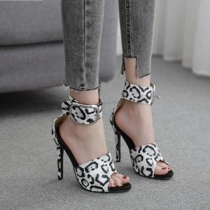 2021 Fashion Ankle Buckle Sandals Women Shoes Peep Toe High Heels Sandals Summer Zebra pattern Party Pumps Size 35-41