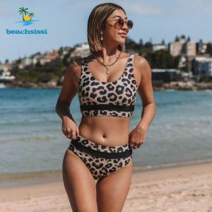 Beachsissi 2021 Fashion High Waist Swimsuits Women Leopard Bikinis Swimwear Beachwear Bathing Suits Bikini Set Summer Holiday