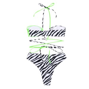 2021 Swimwear 2 Pieces Female Bathing Suit Womens Zebra Stripes Strappy Bikini Top+ Bikini Panties Ladies Beachwear