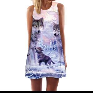KYKU Brand Wolf Dress Women Love Tank Animal Beach Forest Mini Mountain Boho Womens Clothing Casual Gothic Wrap Femme