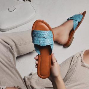 Woven Slippers Women Summer Flats Shoes Sandals Weave  Flip Flops Leather Fashion 2020 Slides Woman Black Blue Sandals Ladies