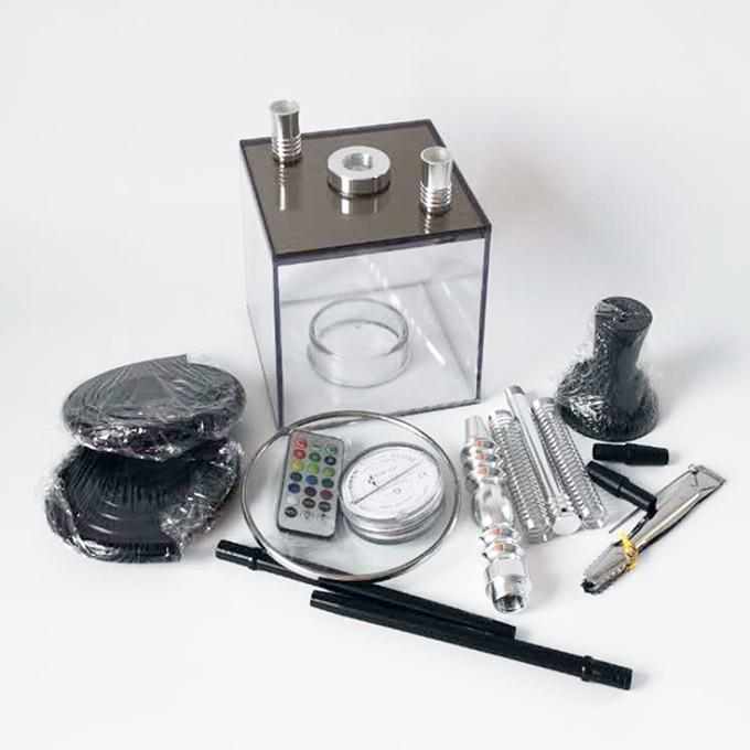 Arab Acrylic hookah Double Tube Shisha Pipe With LED light Chicha Narghile Silicone Tube Hookah Narguile Smoking Accessories (01)