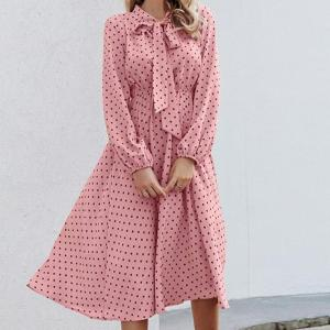 BeAvant Elegant polka dot maxi dress women Autumn winter lantern sleeve pink dress Loose holiday ladies chic bow party dresses