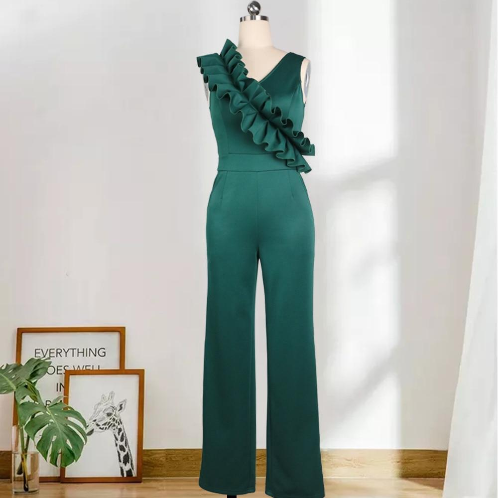 Women Sexy Sleeveless Jumpsuits Willon Green Ruffles Deep V Neck Plus Size Wide Leg Overalls Slim Fashion Party Celebrate Dress