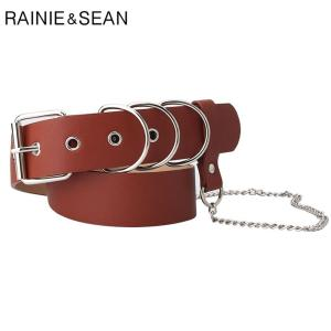 RAINIE SEAN Waist Belt Punk Women Belt with Chain Camel Black Pin Buckle Pu Leather Belts for Women 104cm