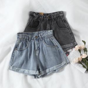 Women's denim shorts 2020 new high-waist shorts women casual loose ladies fashion large size elastic waist wide-leg short jeans