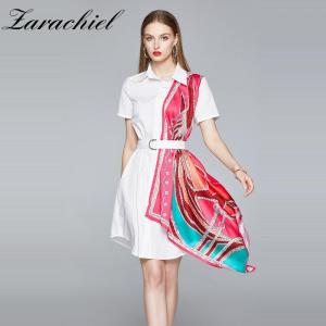 Fashion Women's Short Sleeve Print Silk Scarf Patchwork White Shirt Dress Female Casual Straight Irregular Dresses With Belt