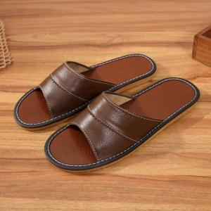 Unisex Indoor Slipper Women Split Leather Home Slipper Ladies Non-slip Solid Mules Plus size 43/44