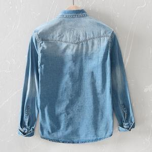 New spring men Ripped Distressed Denim shirt cotton Street style fashion tops man clothing blue black Long-sleeved jeans shirts